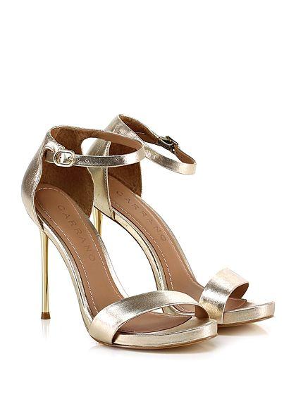 Carrano - Sandalo alto - Donna - Sandalo alto in pelle laminata effetto vintage con cinturino alla caviglia e suola in gomma. Tacco 110, platform 15 con battuta 95. Tacco metallico. - PLATINO - € 198.00