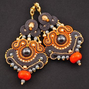 Soutache gray earrings