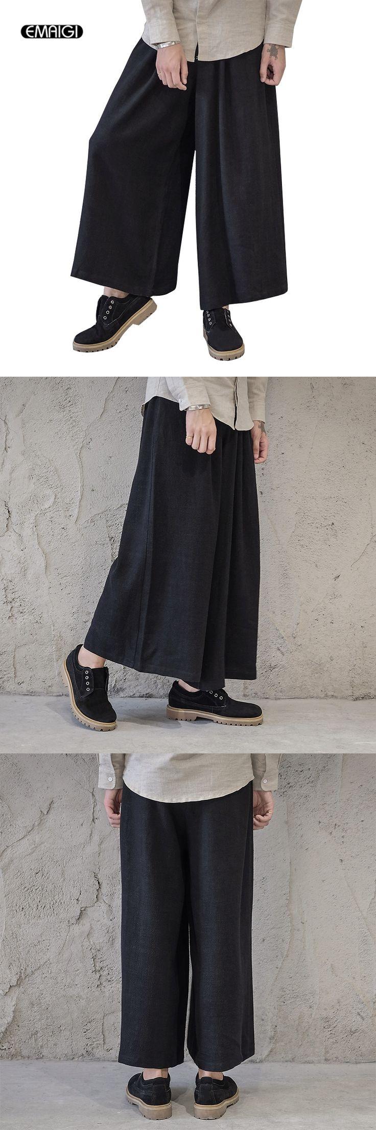 Men Wide Leg Trousers Linen Male Fashion Casual Harem Pant Japan Style Comfortable Skirt Pant