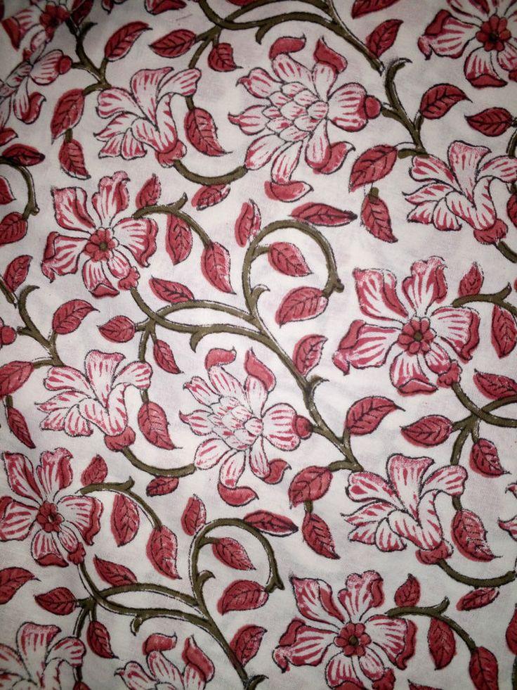 Natural Fabric Decor Cotton Material Hand Block Print Handmade 2.5 Yard Decor #Handblock