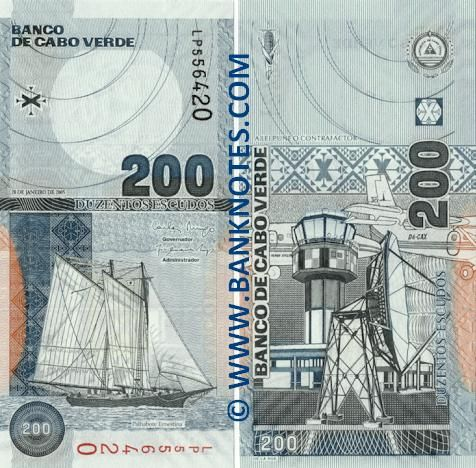 "Cape Verde 200 Two Hundred Escudos 2005 -  Front: Schooner ""Ernestina"". Reverse: Ilha do Sal Airport. Airplanes. Radio antenna. Watermark: Amílcar Cabral. Cornerstones. Main colour: Slate grey. Work by: Unknown. Engraved by: Unknown. Issuer: Bank of Cape Verde. Date of Issue: 20 January 2005. Signatures: Carlos Augusto de Burgo (Governor), Dr. João de Andrade Lopes (Administrador - Executive Director). Date of withdrawal: N/a. Legal tender: Yes. Material: Cotton."