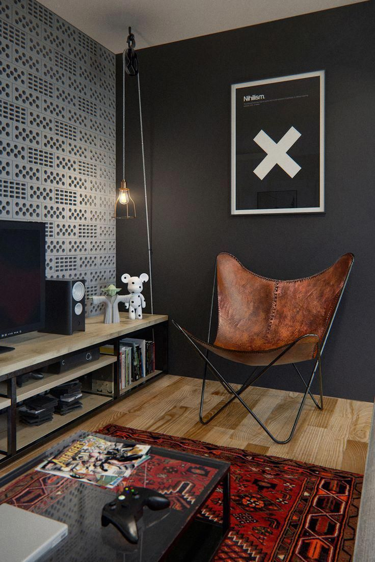 Coin tv ambiance masculine tv room black wall chicmodernhomedecor