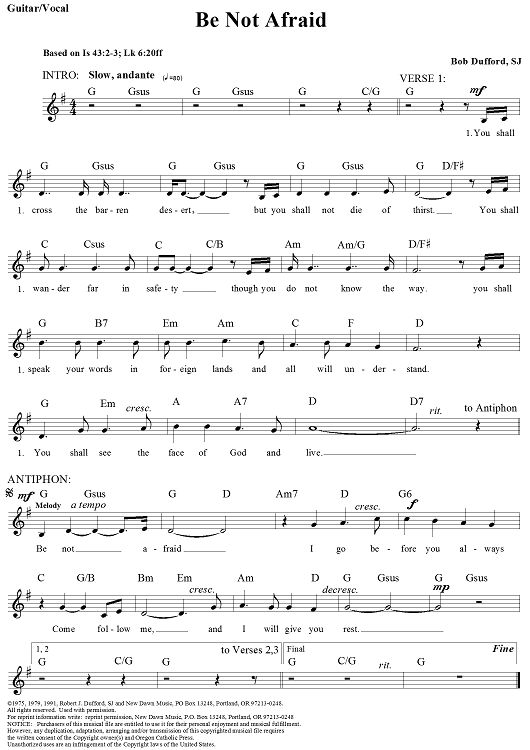 Be Not Afraid (Guitar/Vocal Edition) Sheet Music Preview Page 1  ~  I Wish This Had The Complete Lyrics!