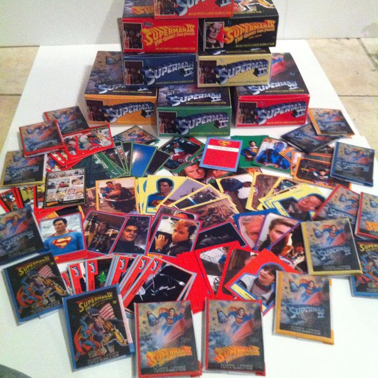 Custom Superman 4 movie cards. 7 series, 99 cards and 22 stickers per series. Each custom wax pack includes 10 cards, 1 sticker and one piece of 30 year old bubble gum (from other cards). Over 600 cards and doubled in another format #superman #superman4 #supermaniv #christopherreeve #retromovies #moviecards #waxpacks #80smovies #DCcomics