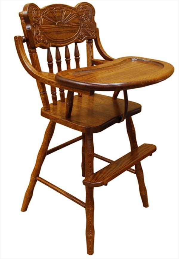 Baby Furniture Wood High Chair Amish Sunburst Back Wood