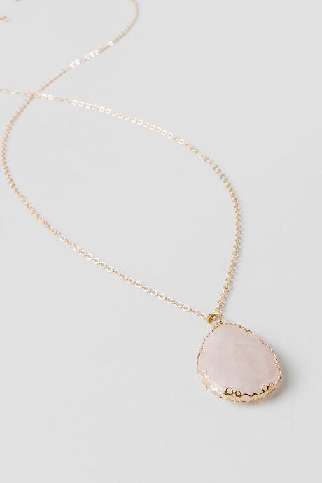 Rita Rose Quartz Stone Pendant Necklace