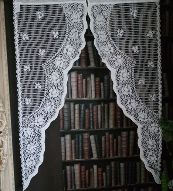 Pair Of Vintage Style White Scottish Lace Polka Dot Cotton Jabot Swag Fine Panels X
