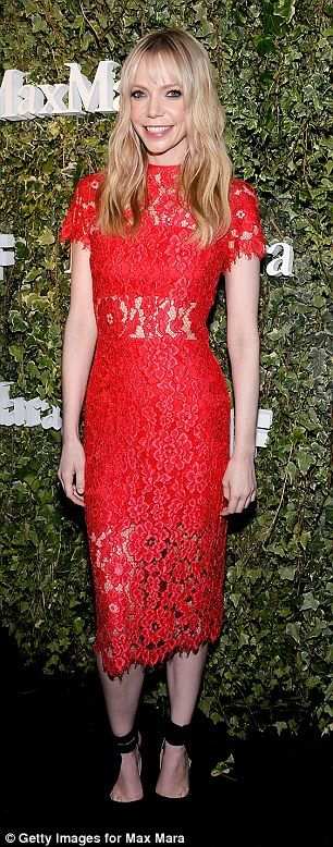 Simply scarlet:Katherine McNamara found a dress to matching her luxuriant red hair while...