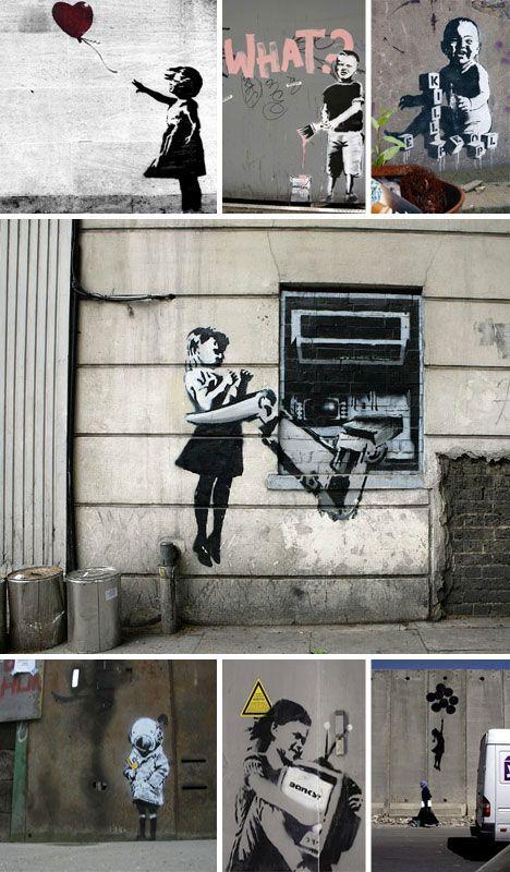 Banksy Children Graffiti & Stencils: Banksy Art, Girl, London, Urban Art, Street Art, Banksy Graffiti, Photo, Banksy Street, Streetart
