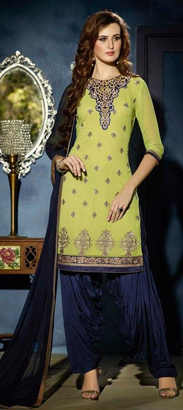 450409 Green  color family Party Wear Salwar Kameez in Faux Georgette fabric with Lace, Machine Embroidery, Patch, Resham work .