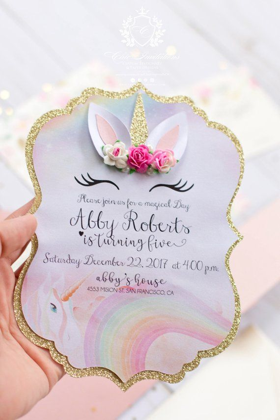 tooo cute  unicorn chic invitation  they are handmade with
