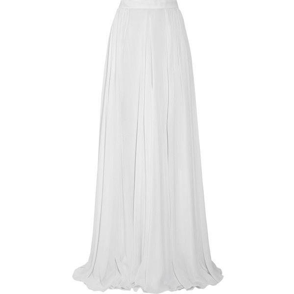 Elie Saab Fluted silk-georgette maxi skirt (81.730 RUB) ❤ liked on Polyvore featuring skirts, slit skirt, long pleated skirt, ankle length skirt, white slit maxi skirt and long white skirt