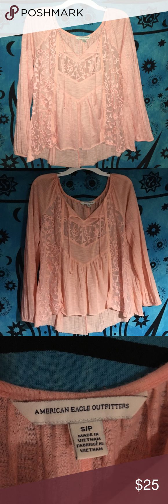 American Eagle shirt Worn once light pink loose flowey shirt with see threw sides American Eagle Outfitters Tops Blouses