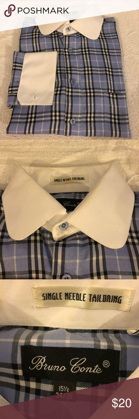 Bruno Conte Blue Plaid French Cuff Shirt 15.5 Bruno Conte Blue, White and Navy Plaid White Collar French Cuff Dress Shirt size 15.5 34/35! Great condition!  Please make reasonable offers and bundle! Ask questions :) Bruno Conte Shirts Dress Shirts