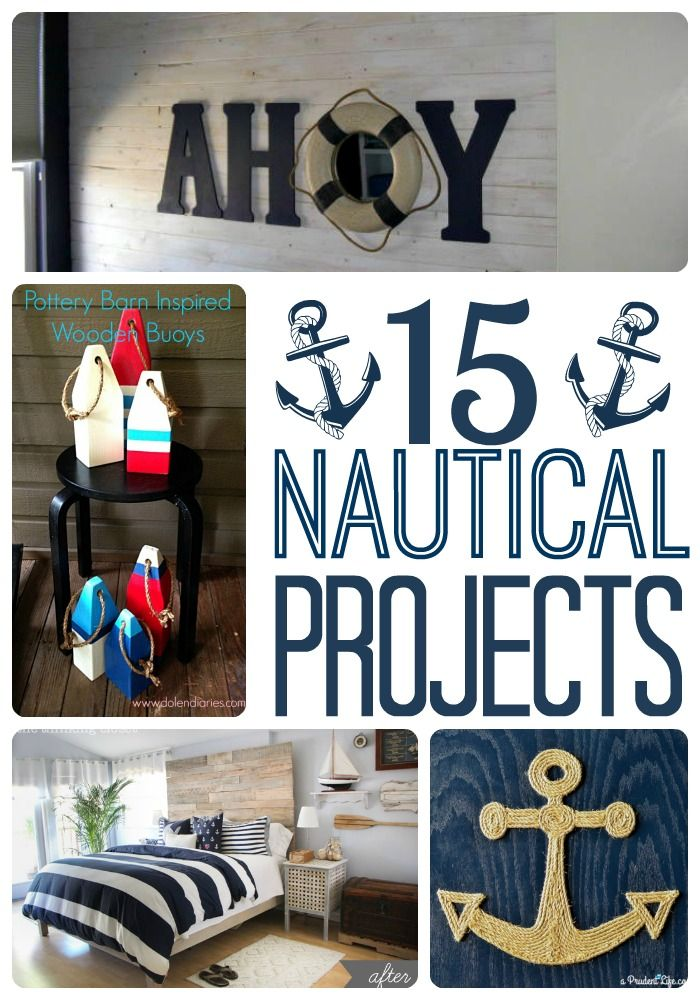 Collection of 15 awesome DIY nautical projects. Guest room - nautical/patriotic blend?