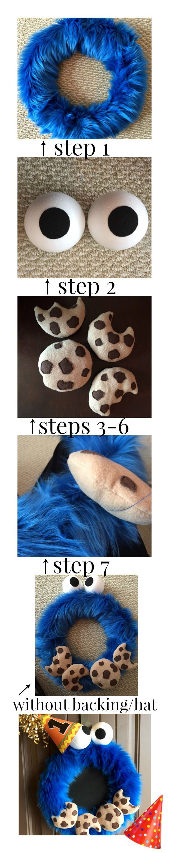 cookie monster wreath steps