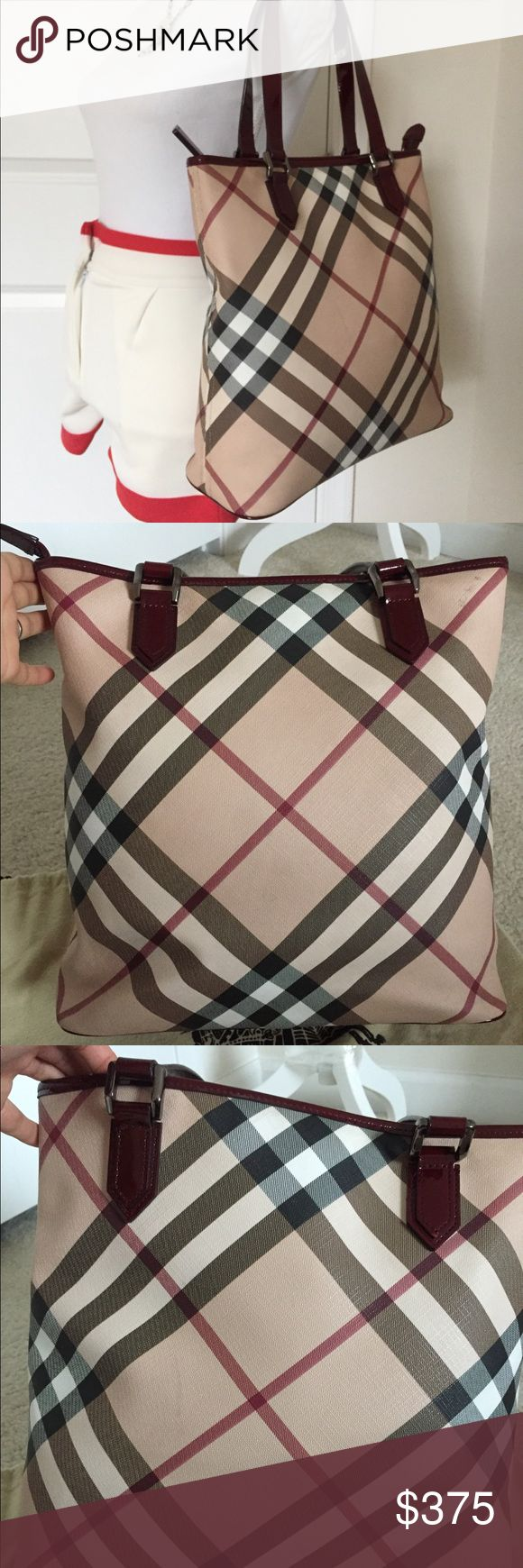 Sale EUC Burberry supernova check classic large 100%Authentic guaranteed Burberry supernova check large classic tote handbag bag in great used condition ! barely used, please reference to all pics , one smudged on exterior top corner as shown pictured, and one unnoticeable on exterior as shown pictured!  Otherwise excellent condition! Very clean though !   Dimensions approximately 14-16' L /13' H /5' W handles drop 9'  Come with original dust bag Burberry Bags Totes