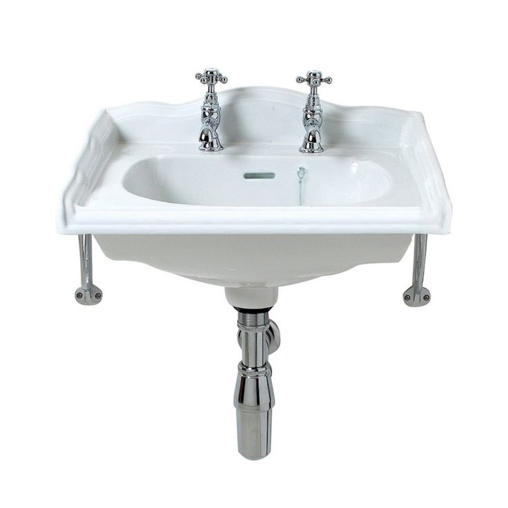 The Traditional English square cloakroom basin is made from china clay and comes with 2 tap holes and a pair of chrome brackets.