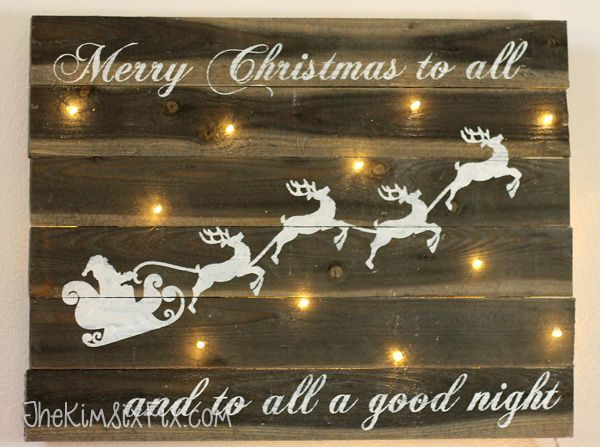 reclaimed-barn-wood-sign-with-christmas-lights.tutorial with link-ups to 24 days of Christmas diys