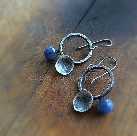 Blue Kyanite Earrings and Sterling Silver  Artisan by COTELLE