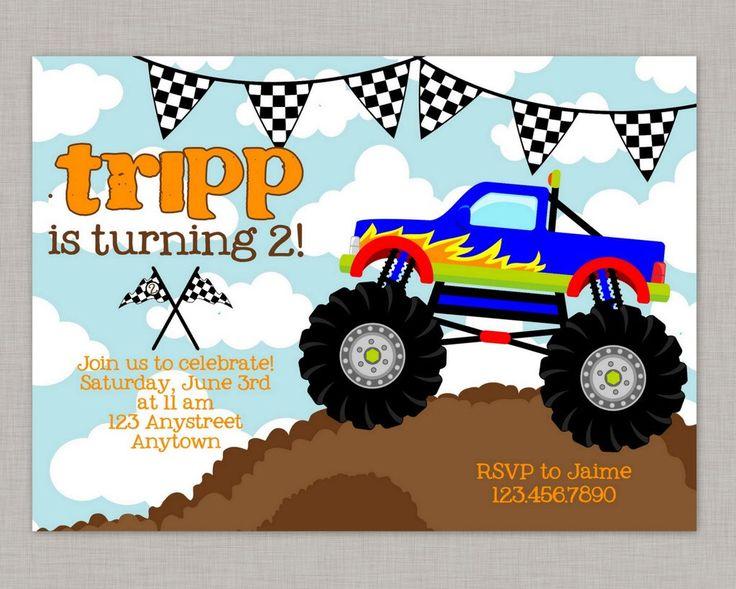 Monster Truck Invitation, Monster Truck Birthday, Monster Truck Party, Printable by thepaperblossomshop on Etsy https://www.etsy.com/listing/122974808/monster-truck-invitation-monster-truck