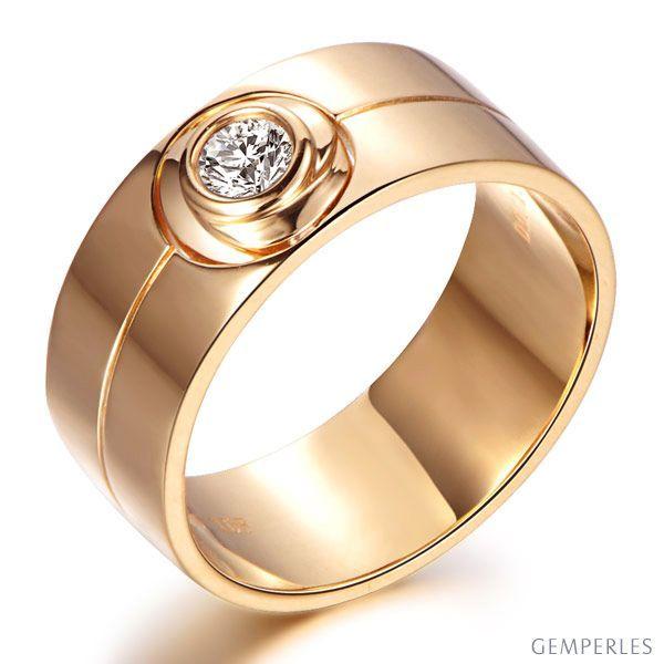Bague homme chevalière - 8mm or rose 18cts - Diamant 0.20ct