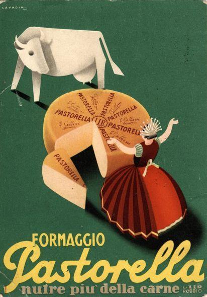 La pubblicità del formaggio Pastorella in un'immagine degli anni '30