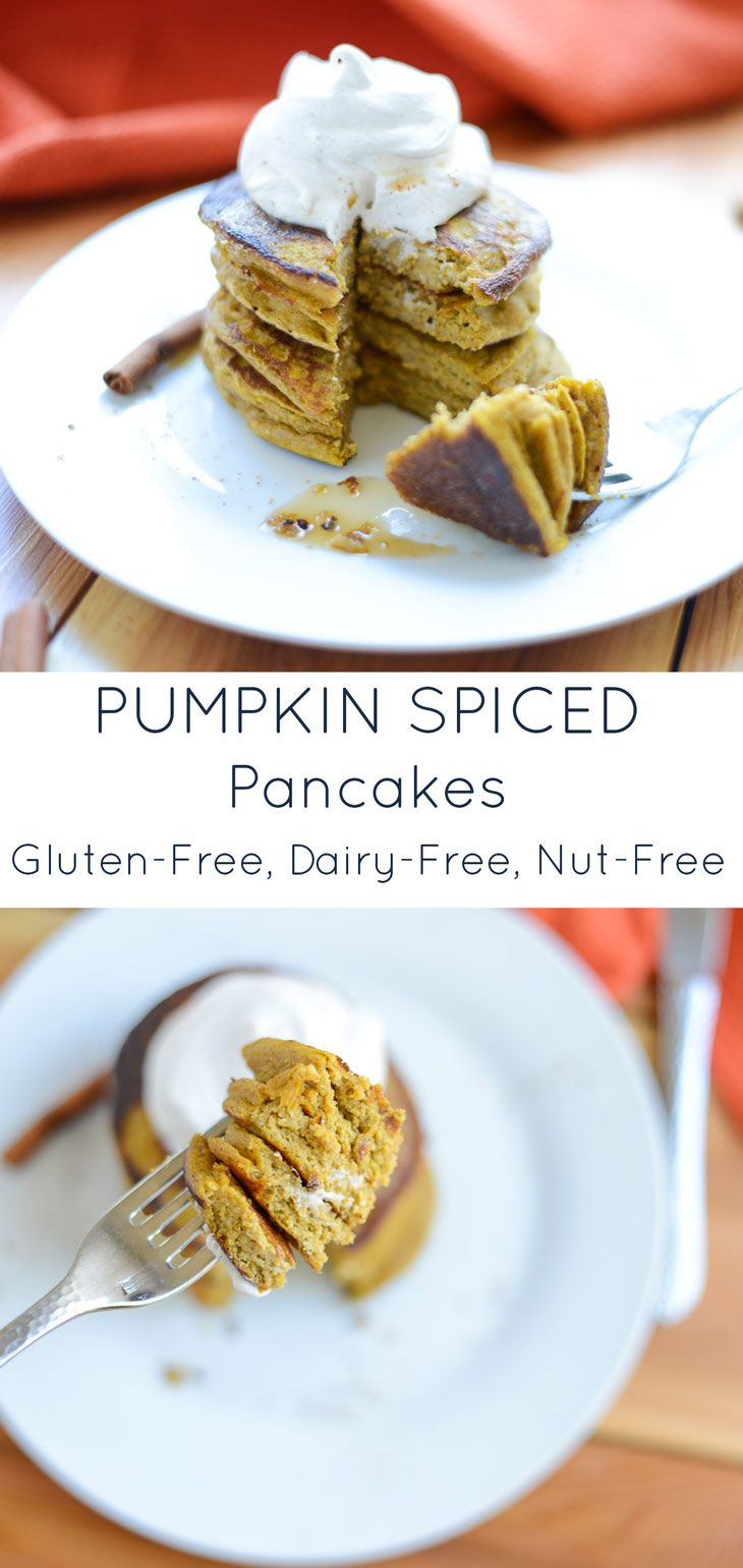 Celebrate fall all year round with Pumpkin Spice Pancakes! They're easy to make in just one-bowl and are naturally gluten-free, dairy-free, and nut-free so just about anyone can enjoy them.