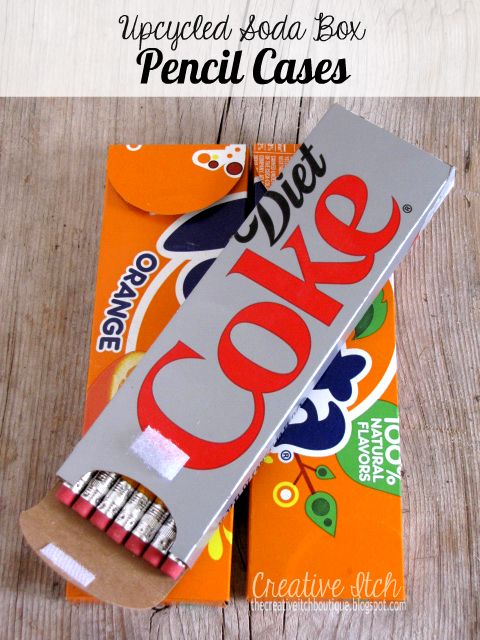 * Upcycled Soda Box Pencil Cases - note that she says it is a bit too short for new, unsharpened pencils