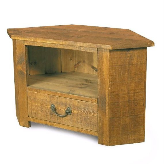 Rustic plank Furniture NEW Real Solid Wood Corner Tv Cabinet Stand Entertainment Unit With DVD Drawer rustic pine furniture sawn finish