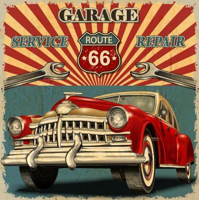 Vintage car poster grunge style vector 04