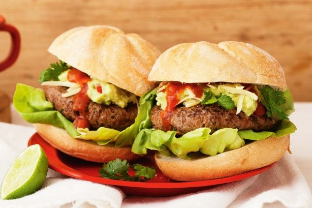 Take your tastebuds on a trip to Mexico with these extra spicy #burgers with chunky guacamole.