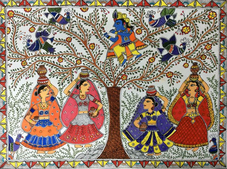 colorful Madhubani painting on craft sheet with acrylic colors