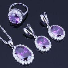 Amor Monólogo de Lujo 925 Sello de Plata Sistemas de la Joyería de Color Púrpura de Cristal CZ Pendientes/Colgante/Collar/Anillos Conjuntos J0483(China (Mainland))