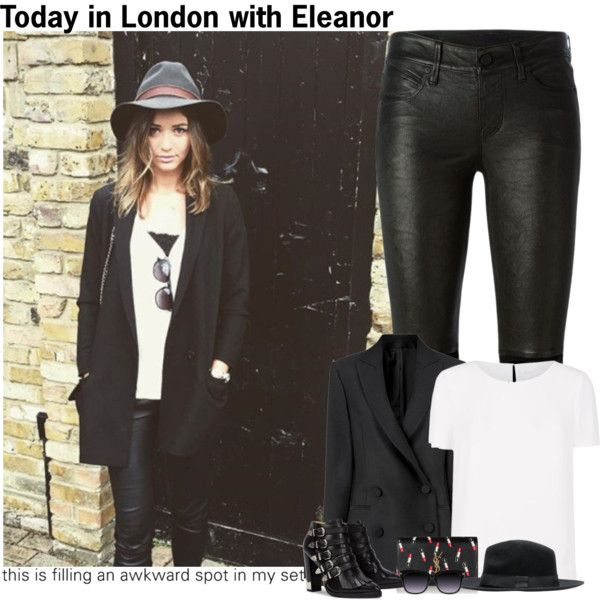Today in London with Eleanor by sraaguspayne on Polyvore featuring moda, HUGO, Racil, RtA, Toga, Yves Saint Laurent and eleanorcalder
