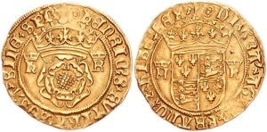 """Coinage depicting Henry and Katherine's initials along with the Tudor Rose and Crest. Debasement was prevalent, so when the silver wore off, the lesser metal, copper had shone through. This prompted a nickname given to Henry by his subjects...'Old Coppernose"""""""
