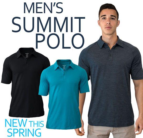 Breathable Short Sleeve WoolX Summit Lightweight Mens Merino Wool Polo Shirt