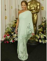 De Jennifer Lopez vestidos celebridade de um ombro apliques Natural Chiffon vestido de festa luz verde vestido