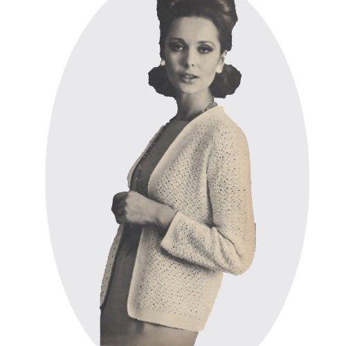 Chanel 1960   Crocheted Chanel Jacket PDF Pattern Small Medium Large Vintage 1960s ...