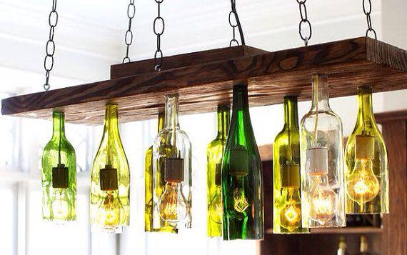 Wine bottle chandelier eight light wine bottle hanging light fixture upcycled chandelier drop - Wine bottle light fixture chandelier ...