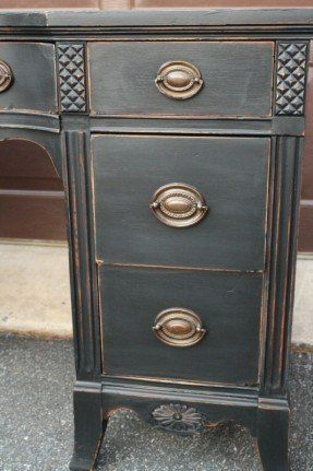 Beautiful Desk Redo with Milk Paint.  This color and aging