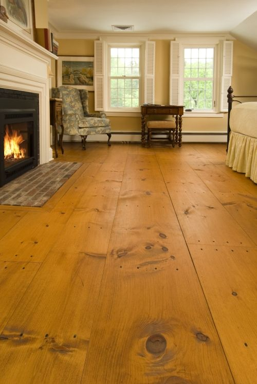 Eastern White Pine flooring (it's the antique nail heads that make it work)