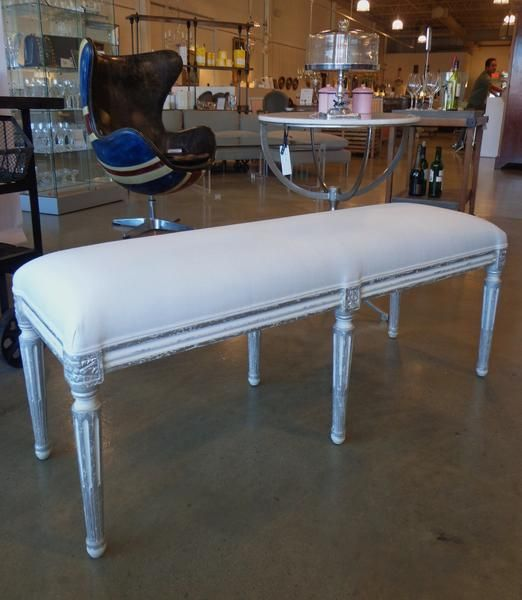 Bench with silver finish #galeriem #montreal #bench #seating #white #silver #padded #decor #home