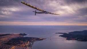 Solar Impulse 2 over the Golden Gate bridge in San Francisco, US. Photo: 23 April 2016