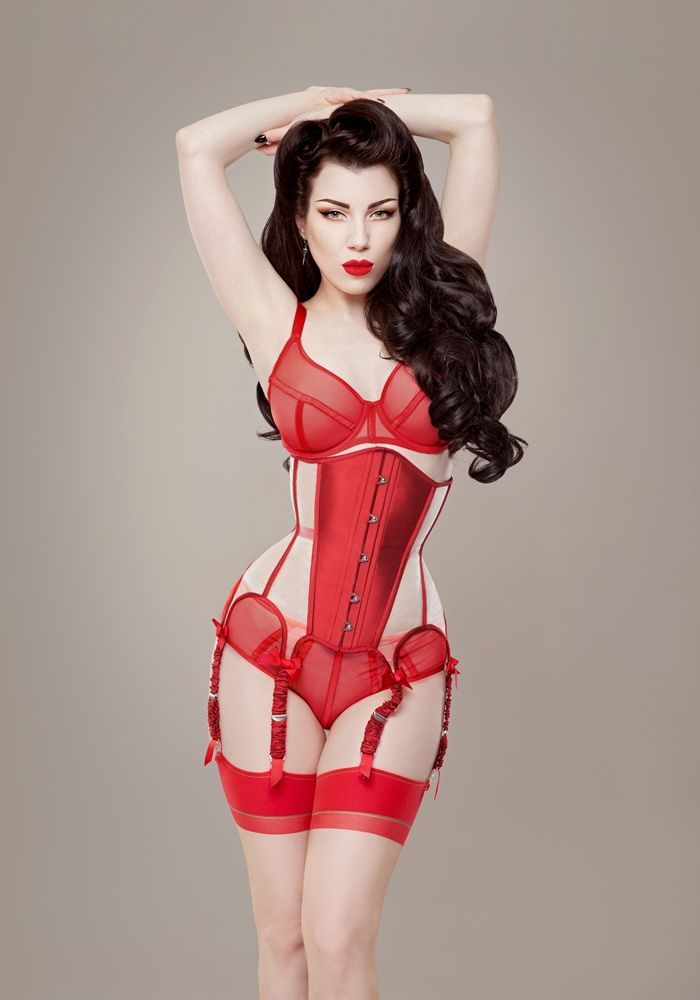 Red mesh 'Valentina' corset by Ava Corsetry