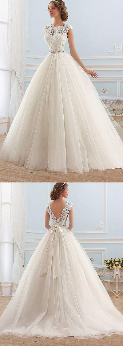 Boho Prom Dress, Tulle Bateau Neckline Ball Gown Wedding Dress