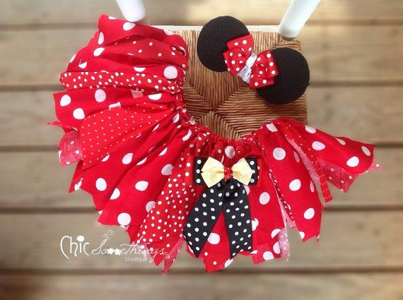 Fabric Tutu, TEA WITH MINNIE, Minnie mouse birthday, red tutu, minnie halloween costume, Minnie Mouse fabric tutu, minni birthday tutu on Etsy, $34.00
