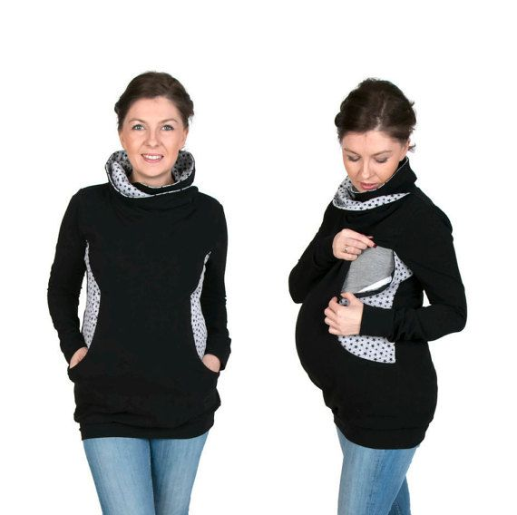 3 in 1 Maternity Pregnancy Sweatshirt Multifunctional Nursing Breastfeeding TUNIC WRAPAROUND TOP with zippers S/M black/stars