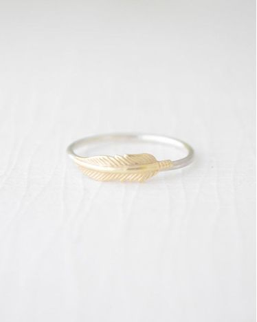 Gold and Silver Feather Ring