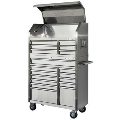 husky 40 in. 18-drawer stainless steel tool chest and cabinet set ...